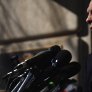 U.S. Veterans Affairs Secretary Robert McDonald delivers a statement and answers reporters' questions outside of his department's headquarters February 24, 2015 in Washington, DC.