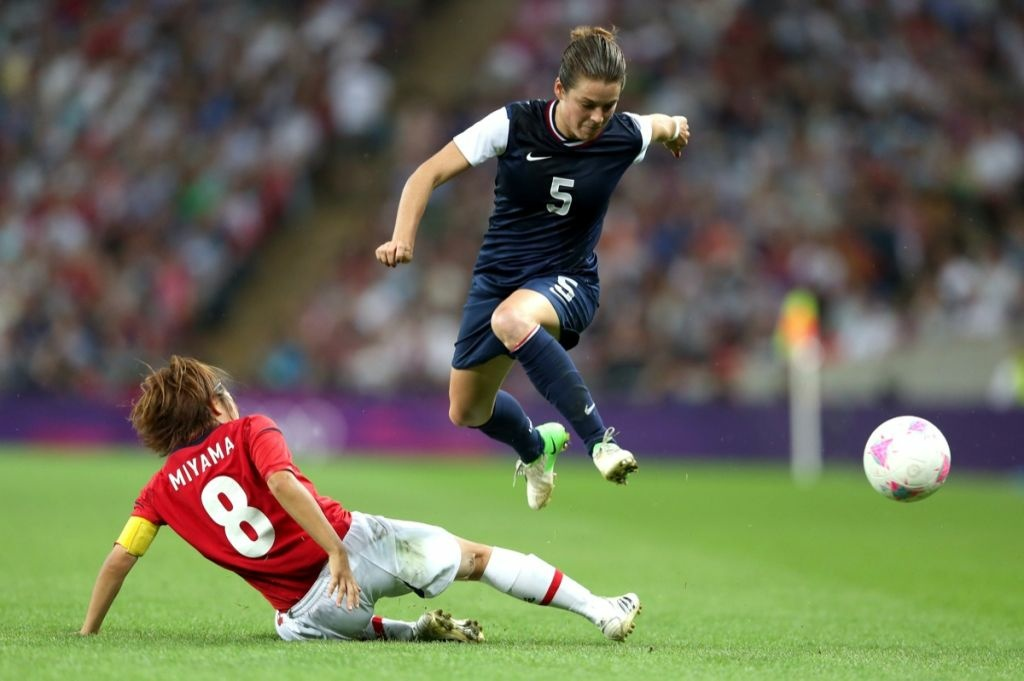 Kelley O'Hara during the Women's soccer gold medal match on Day 13 of the London 2012 Olympic Games at Wembley Stadium on August 9, 2012 in London, England.