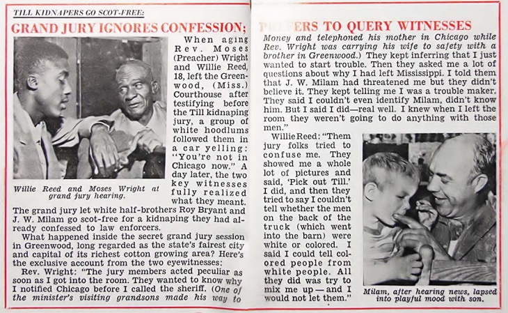 Coverage from Jet magazine's coverage of the Emmet Till murder case