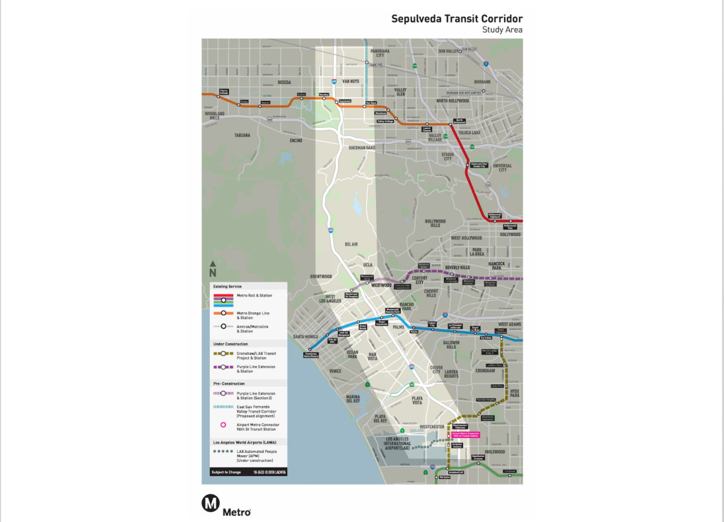 The project area for Metro's planned rail corridor connecting the San Fernando Valley to West L.A.