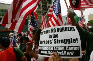 Demonstrators march in Los Angeles, California.