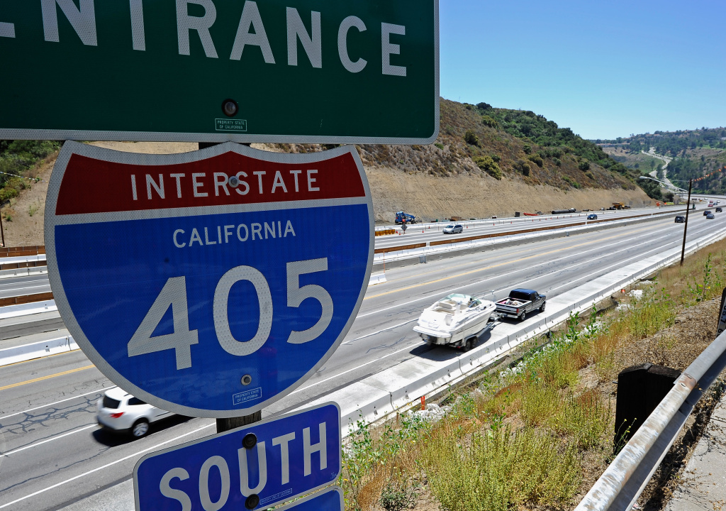 Light traffic flows on the Interstate 405 after it re-opened ahead of schedule following the 10-mile shutdown of the nation's busiest freeway for bridge work the Mulholland bridge on July 17, 2011 in Los Angeles, California.