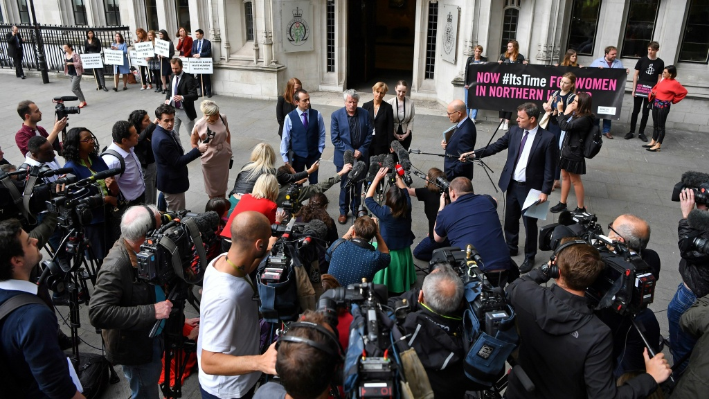 The Northern Ireland Human Rights Commission's chief commissioner, Les Allamby, speaks to members of the media outside of the Supreme Court in London on Thursday. The court said it could not rule on the commissions' challenge to Northern Ireland's strict abortion laws, but that it would have declared them incompatible with human rights laws otherwise.