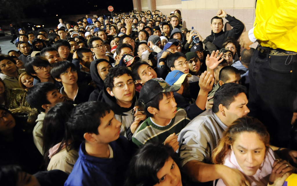 Shoppers rush to get in a BestBuy store at 5 a.m. on November 28, 2008 in Los Angeles, California, a day after Thanksgiving. In the last decade, shopping trends have shifted increasingly online.