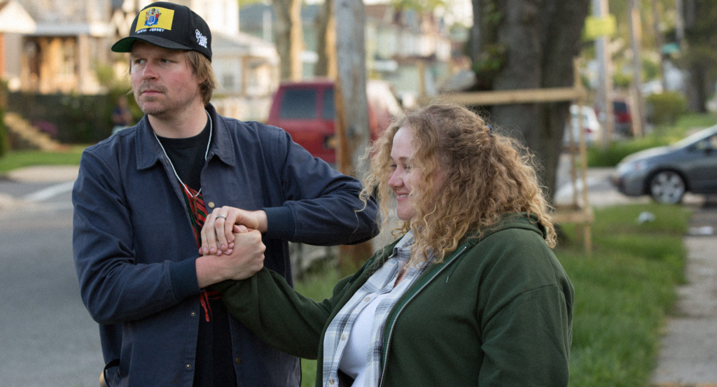 "Director Geremy Jasper and Danielle Macdonald on the set of ""Patti Cake$."""