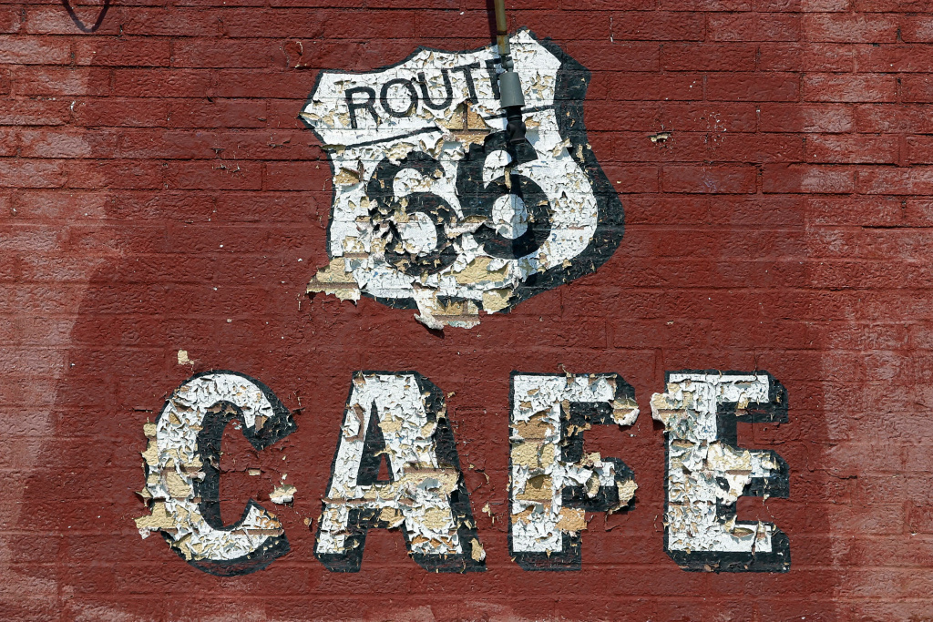 An old cafe along Route 66 in Litchfield, Illinois on July 3, 2003, sits in disrepair and was shut down after business screeched to a halt when Route 66 was bypassed by the high speed Interstate.