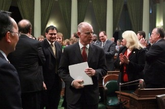 Jerry Brown is accusing Republicans of attempting to block the people's right to vote on the upcoming budget.