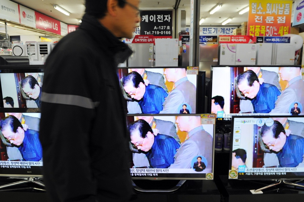 Television moitors displayed at the Yongsan electronic market shows the news of Jang Song-thaek's excution in Seoul on December 13, 2013. North Korea has executed the uncle of its leader Kim Jong-un after a shock purge, state news agency KCNA announced early on December 13, branding the once-powerful Jang Song-Thaek a 'traitor'.