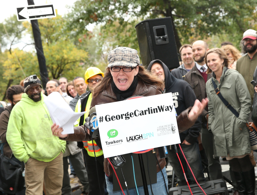 Comedian Kelly Carlin delivers remarks at the George Carlin Way Unveiling Ceremony on October 22, 2014 in New York City.