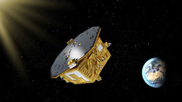 Artist's impression of LISA Pathfinder, ESA's mission to test technology for future gravitational-wave observatories in space.