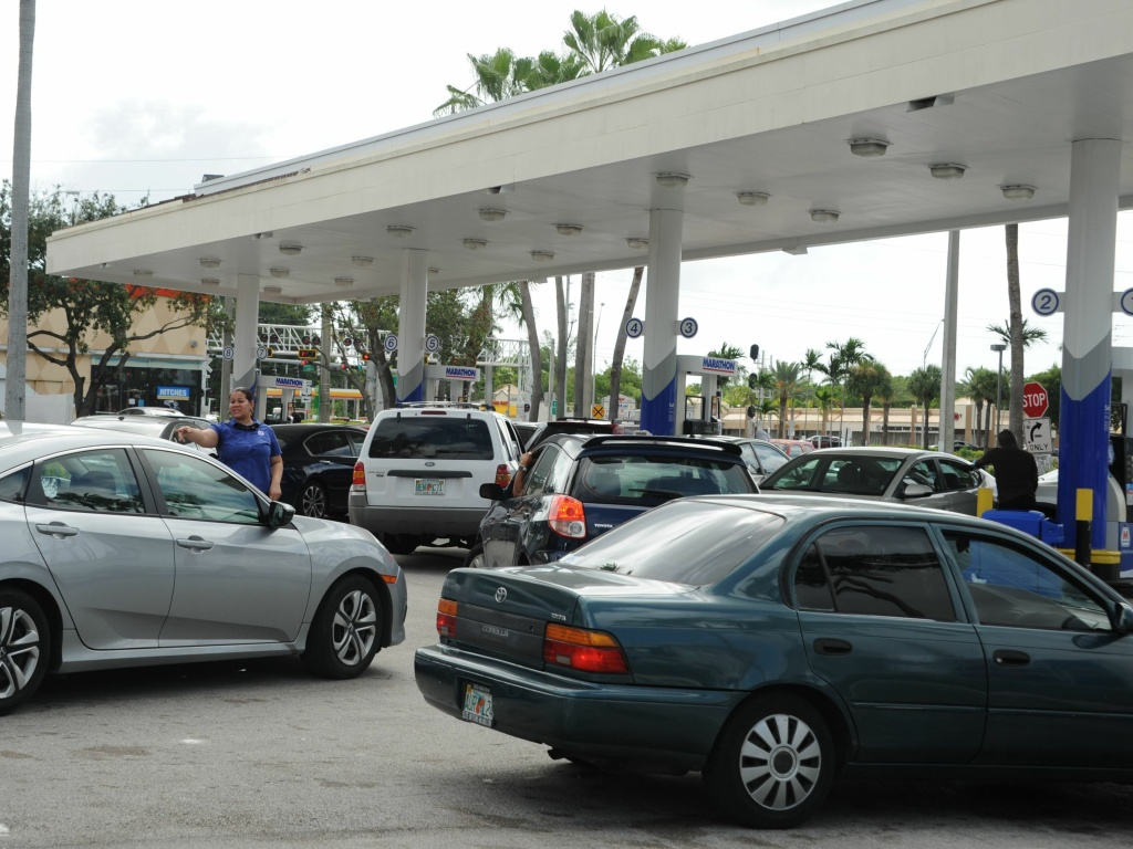 People in Miami lined up to get gas during preparations for Hurricane Irma on Friday.