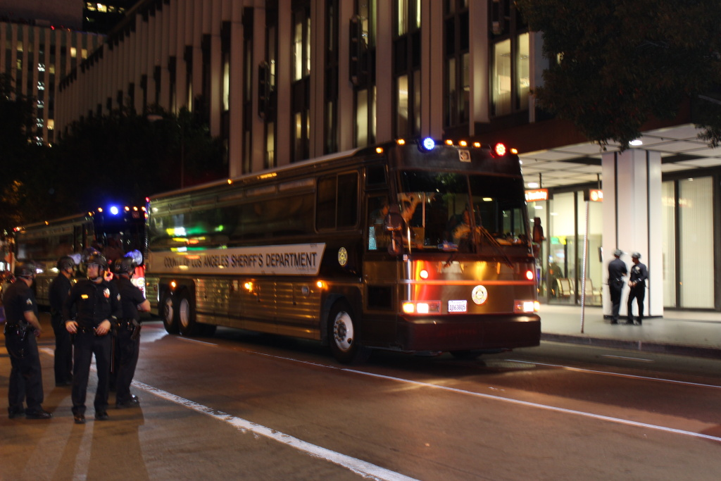LA Sheriff's Department bus at site of arrests Wednesday, November 26.