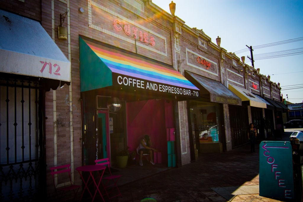 Exterior of Cuties coffee shop in East Hollywood. Photo courtesy of Iris Bainum-Houle.