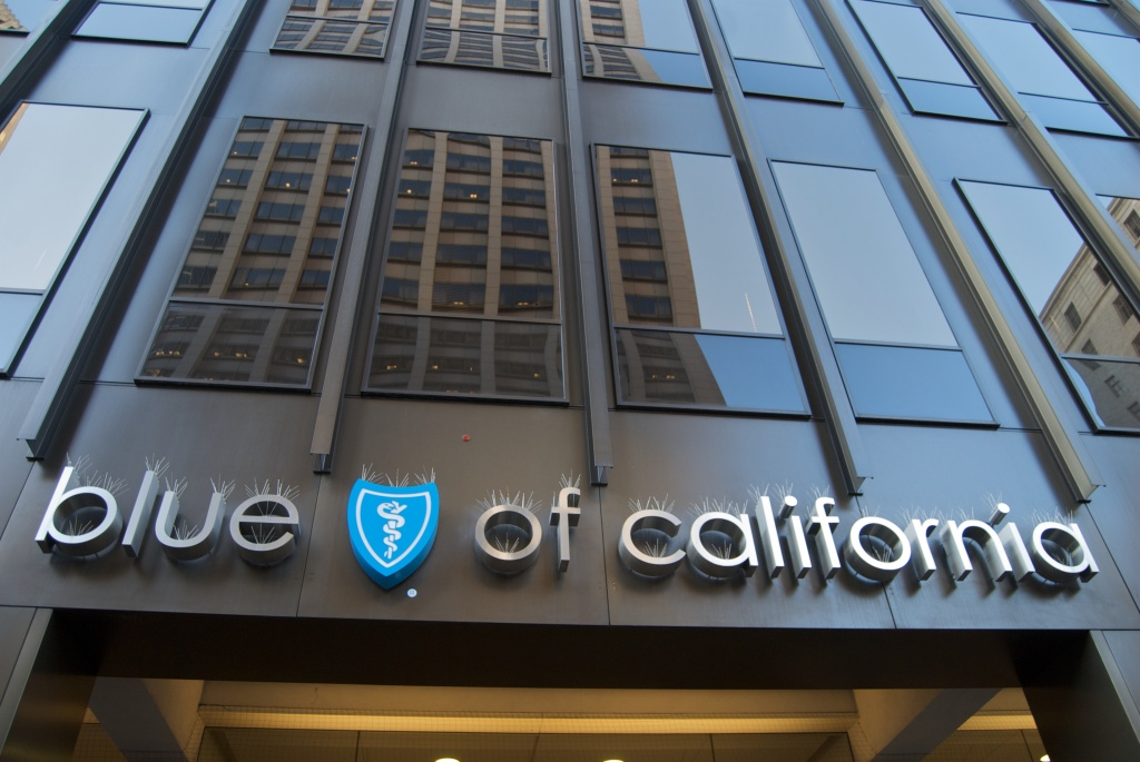 The entrance to an office of health insurer Blue Shield of California. The company's tax-exempt status was revoked last August by the state Franchise Tax Board.