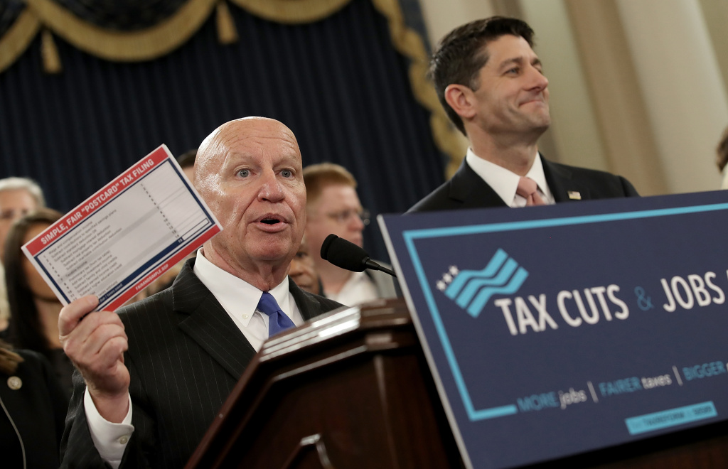 \House Way and Means Chairman Kevin Brady (L) (R-TX) and Speaker of the House Paul Ryan (R) (R-WI), joined by members of the House Republican leadership, introduce their tax reform legislation on Thursday.