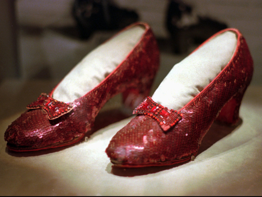 The FBI says it has recovered a pair of ruby slippers worn in <em>The Wizard of Oz</em> that were stolen from a Minnesota museum in 2005. One of several pairs of slippers worn by Judy Garland in the movie are seen here in 1996.