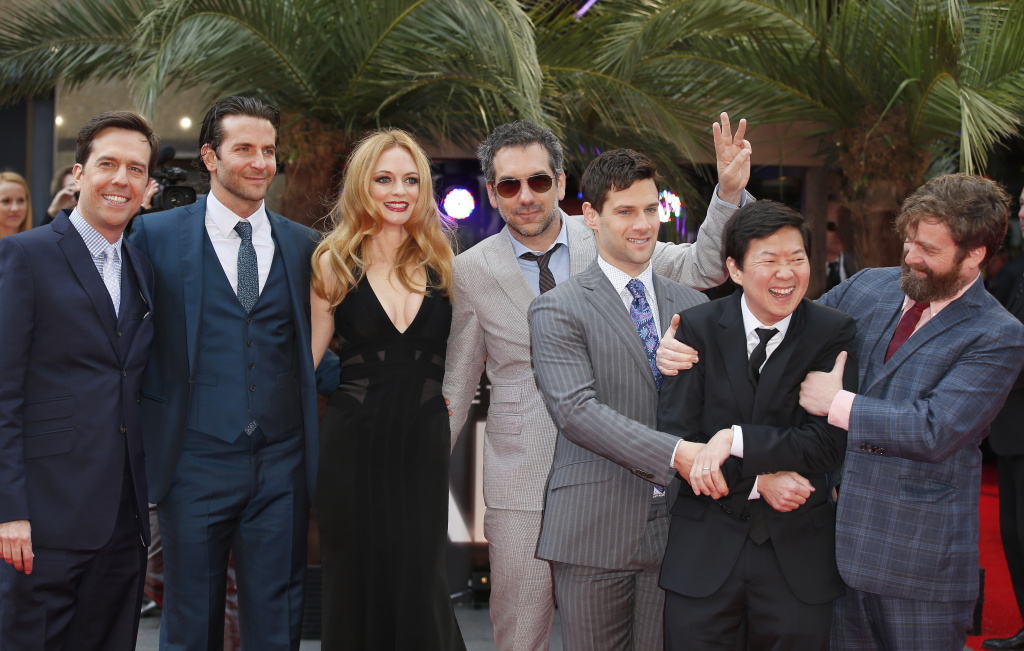Cast members, (L-R) Ed Helms, Bradley Cooper, Heather Graham, director Todd Phillips, Justin Bartha, Ken Jeong and Zach Galifianakis as they arrive for the European Premiere of 'The Hangover Part 3' in London on May 22, 2013.