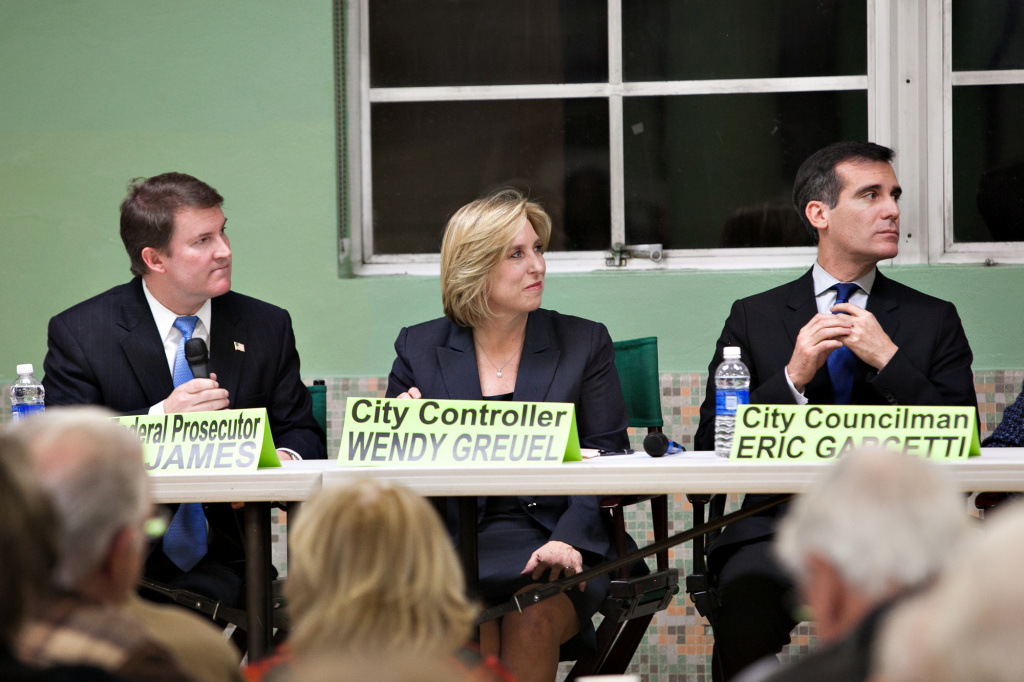 Mayoral candidates, former federal prosecutor Kevin James (left), City Controller Wendy Greuel (center) and Councilman Eric Garcetti (right).