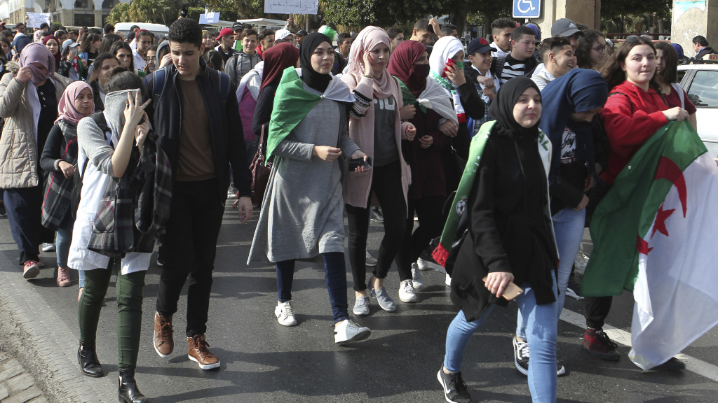 High school students march in central Algiers. The protesters are speaking out against President Abdelaziz Bouteflika's candidacy for a fifth term in next month's presidential election.