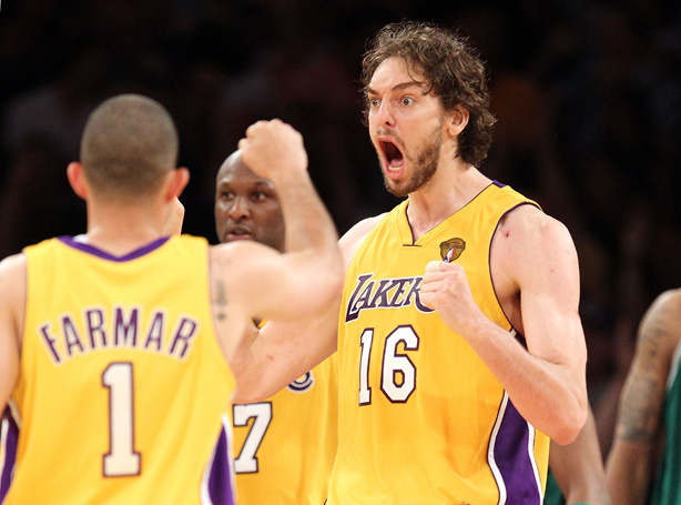 Pau Gasol #16 of the Los Angeles Lakers reacts with teammate Jordan Farmar #1 while taking on the Boston Celtics in Game Seven of the 2010 NBA Finals at Staples Center on June 17, 2010. Gasol is playing against some familiar faces in the Olympic basketball match between the US and Spain.