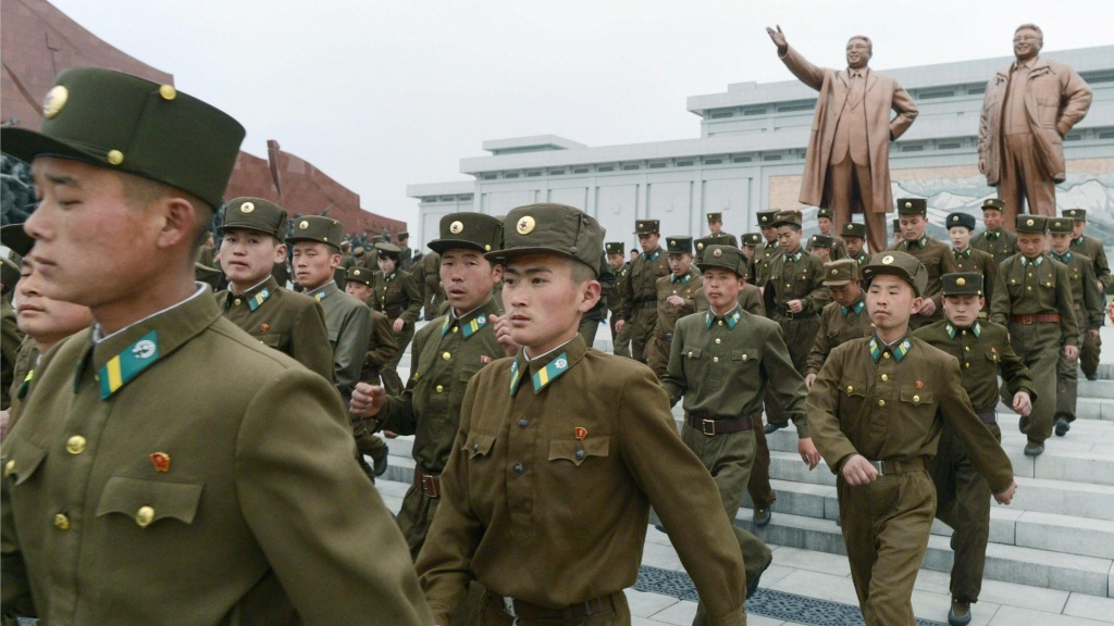 In Pyongyang, North Korea, on Monday, soldiers marched  past statues of founder Kim Il Sung and his son, former leader Kim Jong Il. North Korea celebrated Kim Il Sung's 101st birthday.