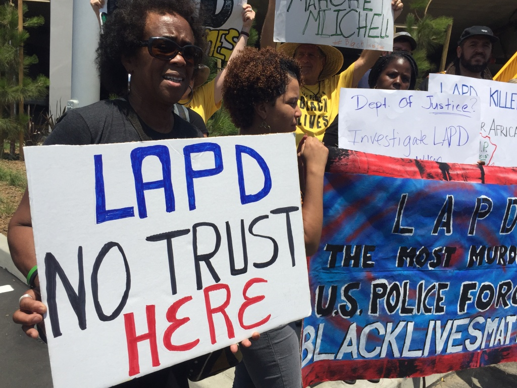 FILE PHOTO: Black Lives Matter activists protest U.S. Attorney General Loretta Lynch at Facebook in Playa Vista on June 30, 2016. They were angry Lynch praised the LAPD's reform efforts.