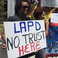 Black Lives Matter activists protest U.S. Attorney General Loretta Lynch at Facebook in Playa Vista on June 30, 2016. They were angry Lynch praised the LAPD's reform efforts.