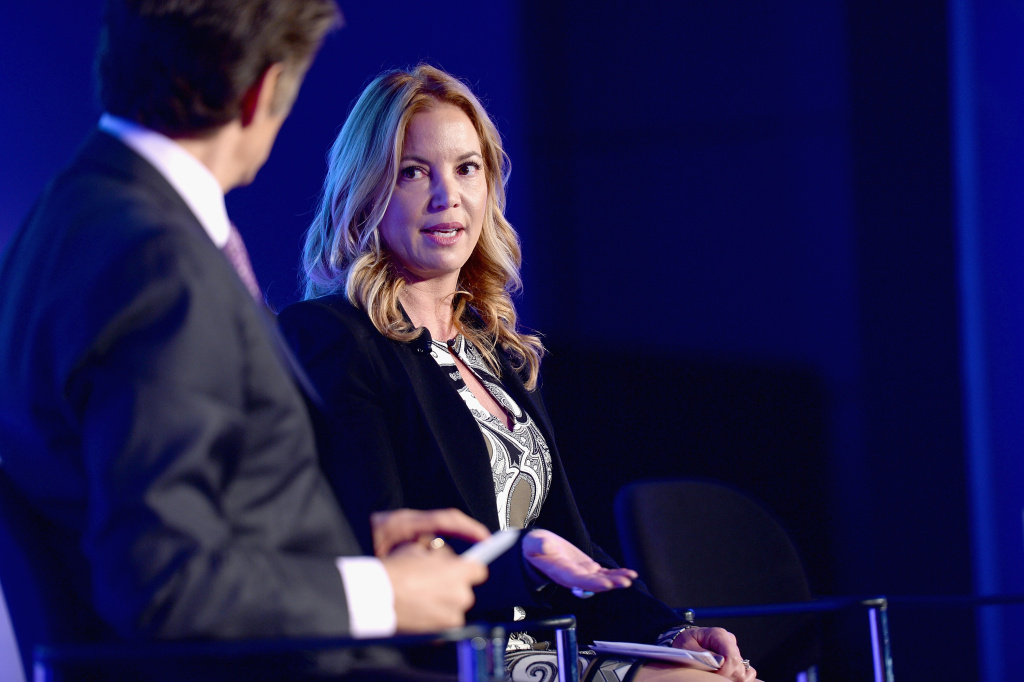 File: President of the Los Angeles Lakers, Jeanie Buss, speaks onstage at the 2014 Concordia Summit - Day 1 at Grand Hyatt New York on Sept. 29, 2014 in New York City.