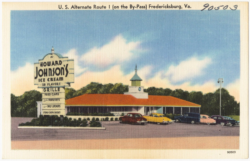 A vintage postcard (circa 1930-1945) shows the Howard Johnson's, or HoJo's, on U.S. Alternate Route I, in Fredericksburg, Va. The chain redefined how a broad swath of middle-class families dined on the road.