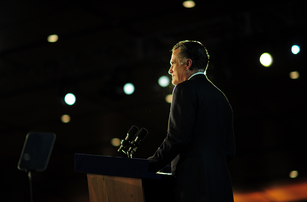 Republican presidential candidate Mitt Romney concedes defeat to US President Barack Obama November 7, 2012 in Boston, Massachusetts.