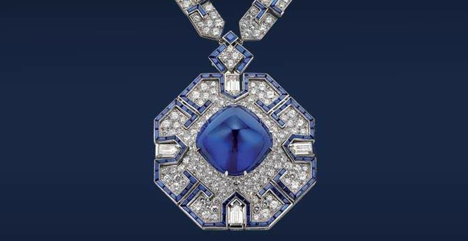 Bulgari- Platinum with sapphires and diamonds. Chain