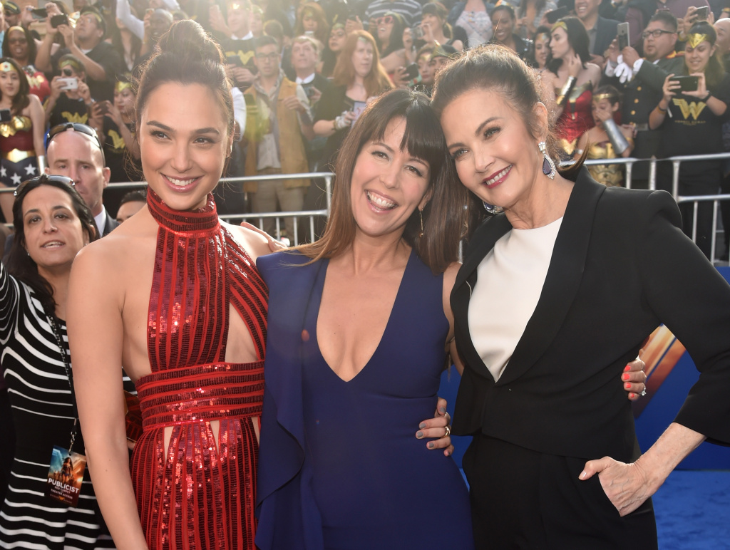 HOLLYWOOD, CA - MAY 25:  (L-R) Actor Gal Gadot, director Patty Jenkins and actor Lynda Carter attend the premiere of Warner Bros. Pictures'