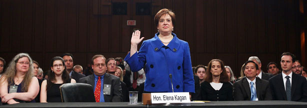 U.S. Supreme Court nominee Elena Kagan is sworn in by Senate Judiciary Committee Chairman Sen. Patrick Leahy (D-VT) on the first day of her confirmation hearings on Capitol Hill June 28, 2010 in Washington, DC.