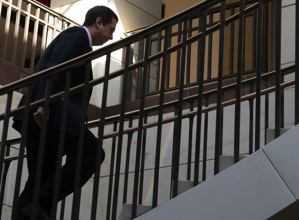 Chairman of the House Intelligence Committee, Devin Nunes (R-CA) walks away after leaving a closed meeting with fellow committee members, on Capitol Hill March 23, 2017 in Washington, DC.