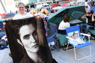 Fans are shown camping out for the upcoming premiere of 'The Twilight Saga: Eclipse' at Nokia Plaza on June 21, 2010 in Los Angeles, California.