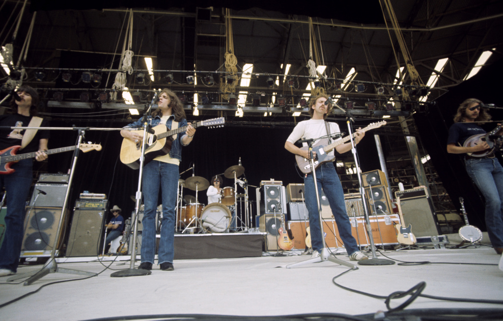 Randy Meisner, Glenn Frey, Don Henly, Don Felder and Bernie Leadon of The Eagles performing at Wembley Stadium in London, England in 1974. Police said Monday that officers found Meisner's 63-year-old wife, Lana Rae Meisner, dead on Sunday from a single gunshot wound at the couple's home in the San Fernando Valley. It was the second tragedy to strike the Eagles in as many months, after the January death of co-founder and guitarist Glenn Frey.