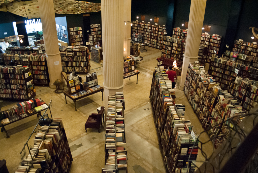 An aerial view of The Last Bookstore in Los Angeles on June 12, 2012.