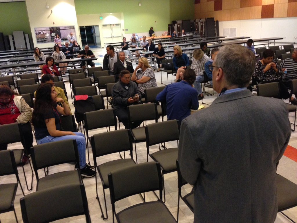 Nearly two dozen people at the Roybal Learning Center attended the first in a series of Los Angeles Unified forums where the public can comment on the school district's superintendent search.