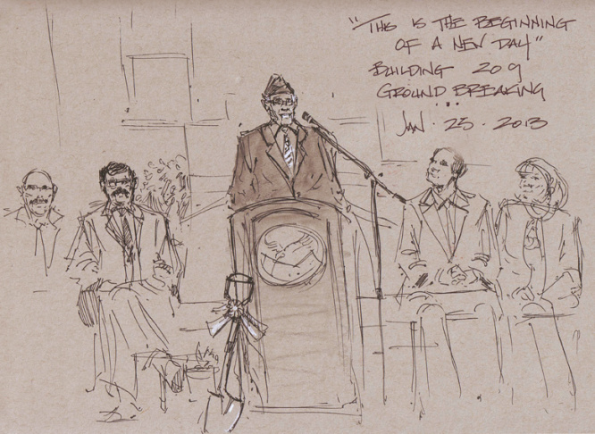 Mike Sheehan's sketchbook from the groundbreaking of Building 209 at the VA in Brentwood, with LA City Councilman Bill Rosendahl, who is battling cancer.