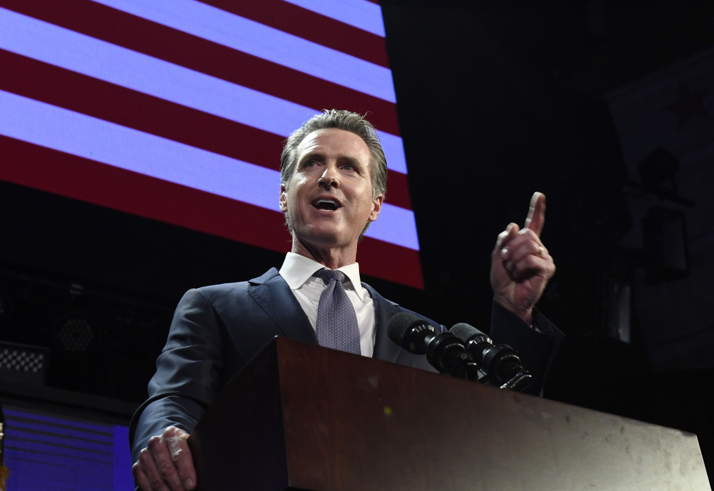 Democratic gubernatorial candidate Gavin Newsom speaks during election night event on November 6, 2018 in Los Angeles, California