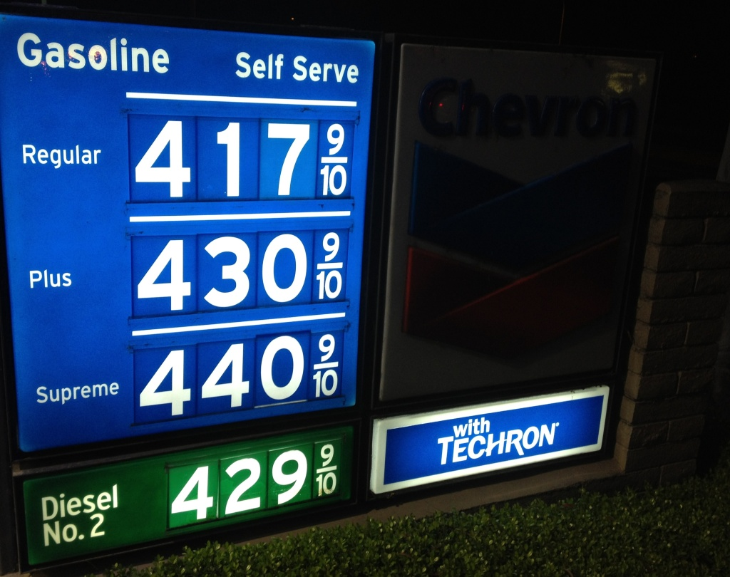 Gasoline prices at a Newport Beach station are slightly higher than the average reported by the Automobile Club of Southern California. A gallon of self-serve regular Friday in L.A. County is averaging $4.09. The average is $4.06 in Orange, Riverside and San Bernardino counties.