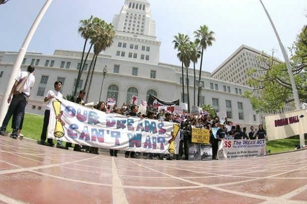 DREAM Act supporters outside L.A. City Hall, June 2009