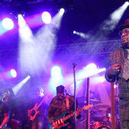 Musician George Clinton performs at the 2015 National Association of Music Merchants show at the Anaheim Convention Center on January 23, 2015.