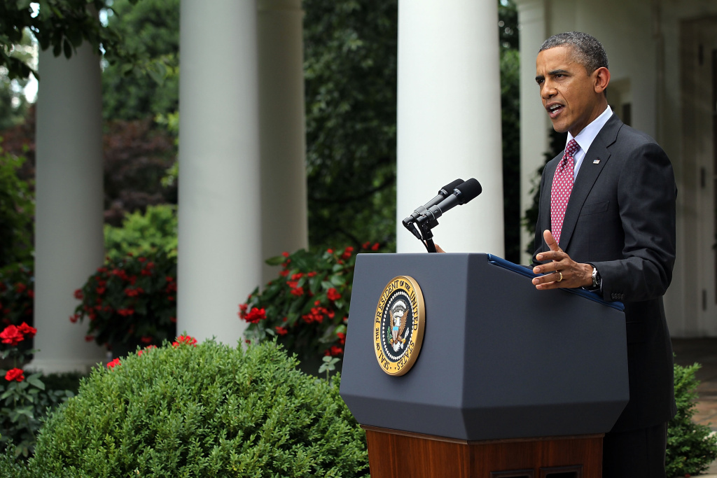 U.S. President Barack Obama delivers remarks about the Department of Homeland Security's recent announcement about deportation of illegal immigrants in the Rose Garden at the White House June 15, 2012 in Washington, DC.