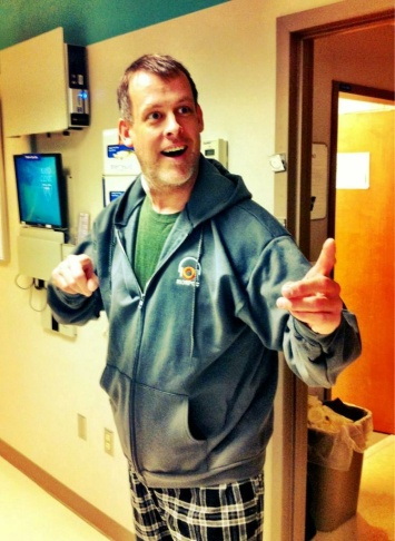 James Rabe models his KPCC hoodie at Mayo Clinic.