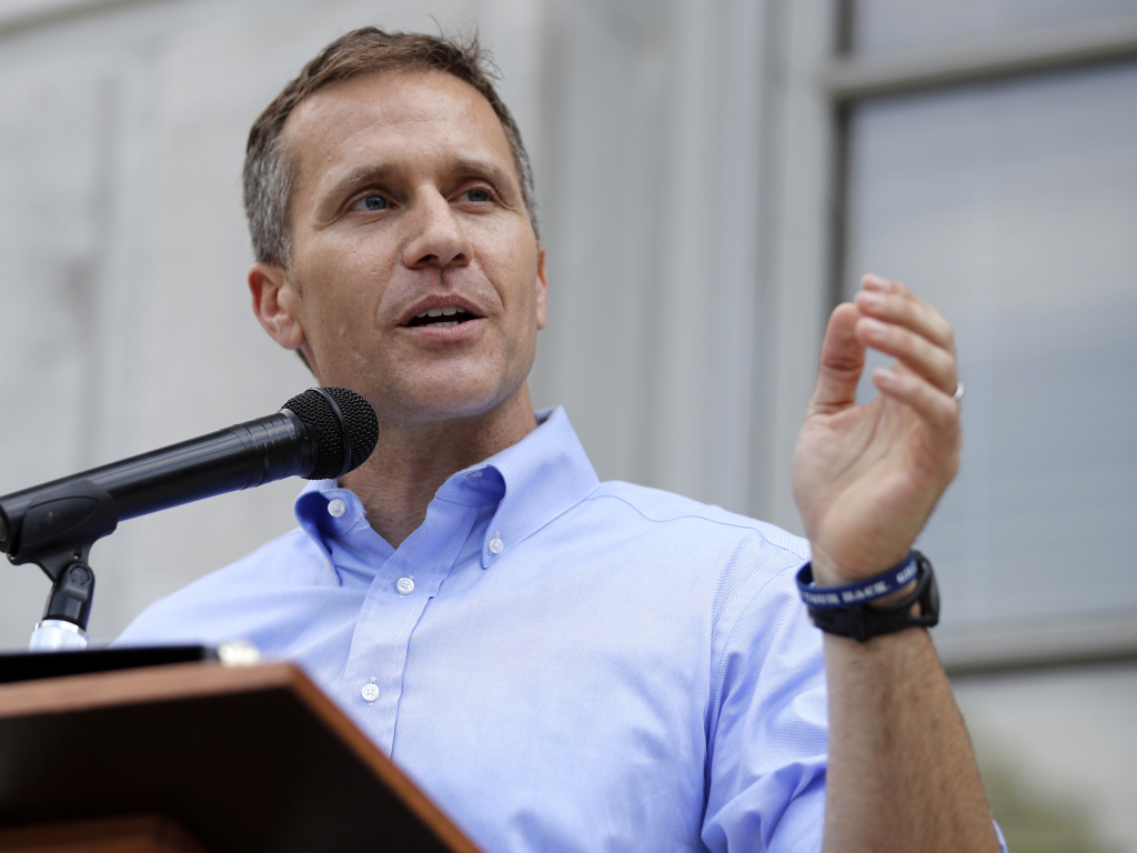 Then-Missouri Gov. Eric Greitens in May 2017. A special prosecutor said Friday she has decided not to refile an invasion-of-privacy charge against him.