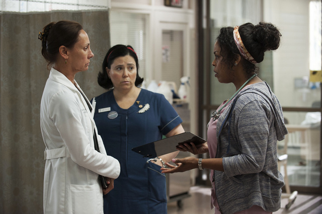 Fom left, Laurie Metcalf, Alex Borstein, and Niecy Nash, in a scene from the HBO series,