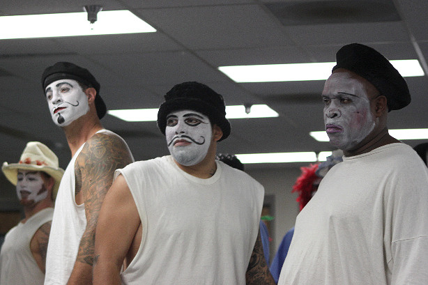 Prison inmates in character during an acting workshop hosted by the Actors' Gang troupe at California Rehabilitation Center, a medium Level II correctional facility in Norco, Calif.