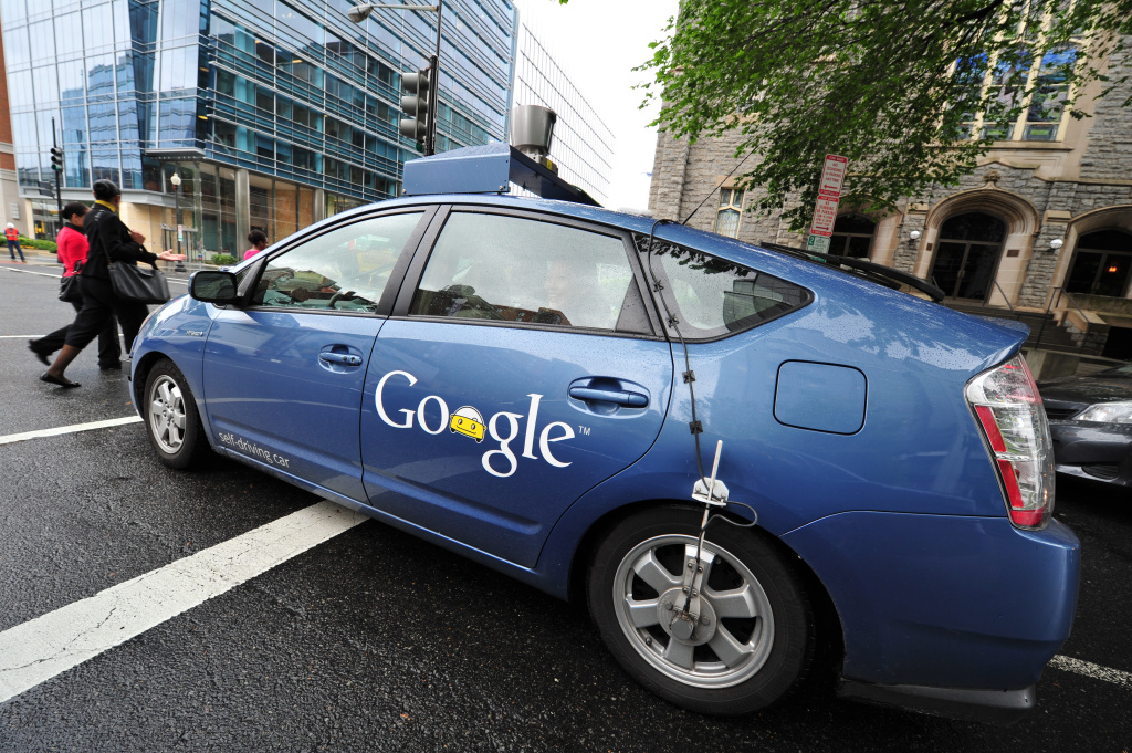 The Google self-driving car maneuvers through the streets of in Washington, DC in this May 14, 2012 file photo. The company acknowledged on Monday, May 11, 2015, that its cars have been in 11 minor traffic accidents over six years but says none of these minor collisions was caused by its cars.