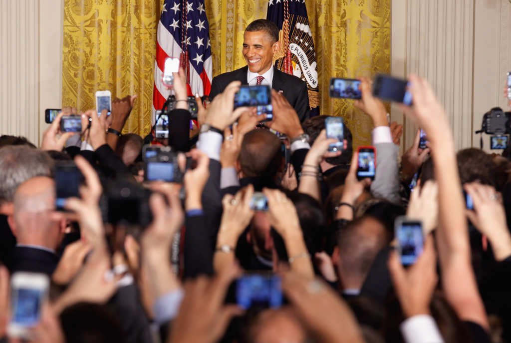 U.S. President Barack Obama hosts a reception in honor of national Gay, Lesbian, Bisexual and Transgender Pride Month in the East Room of the White House June 15, 2012 in Washington, DC. In the midst of a re-election campaign against former Massachusetts Gov. Mitt Romney, Obama's recent declaration of support for same-sex marriage was celebrated as a key endorsement among gay rights groups.
